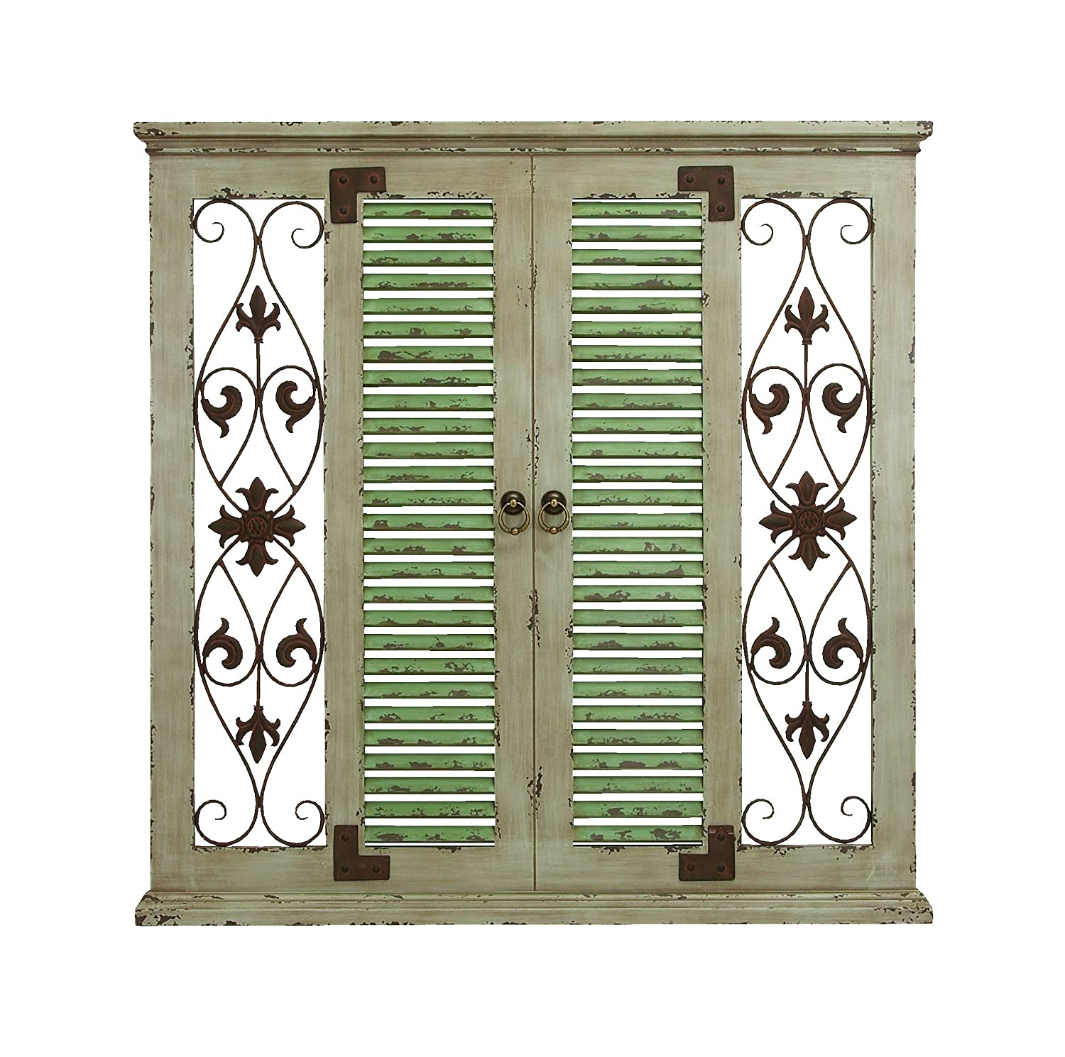 """Deco 79 Rustic Square Louvered Door-Inspired Wooden Wall Panel, 40""""H x 40"""" L, Distressed White Finish"""