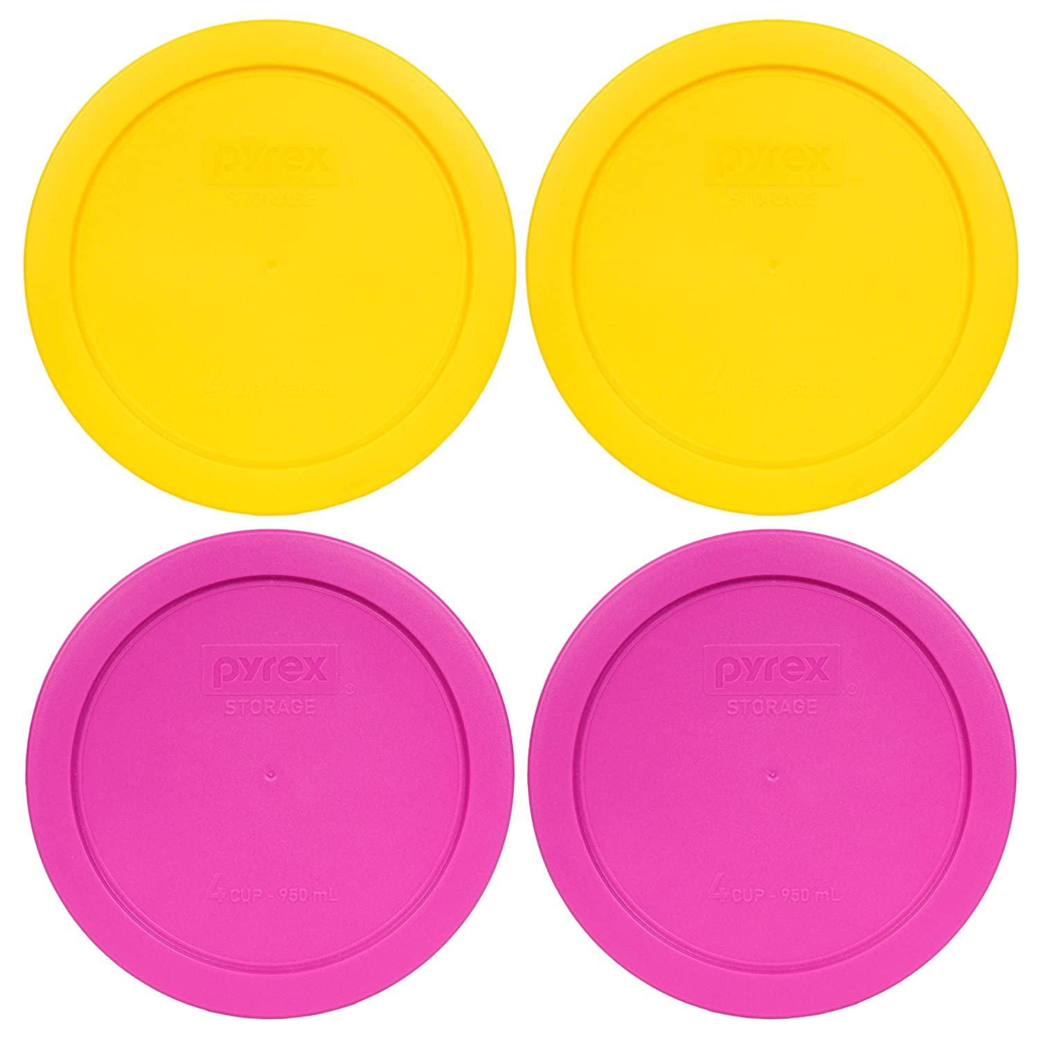 Pyrex 7201-PC 4 Cup (2) Meyer Yellow (2) Pink Round Plastic Lids - 4 Pack