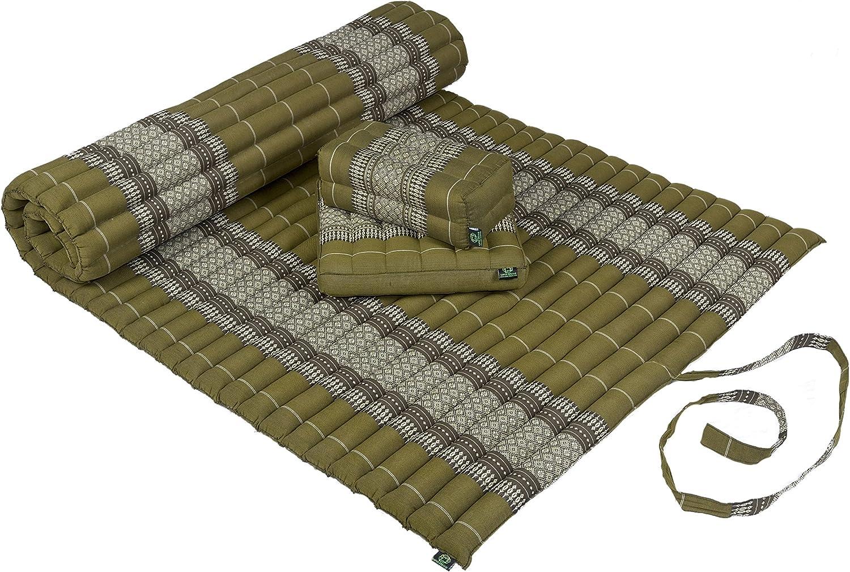 100/% Kapok Filling Kapok Dreams Yoga /& Massage Set: Kapok Mat 39x79+ Block Cushion Pillows Bamboogreen Natural /& Sustainable Plant Fibre seat Cushion Rollable Mat