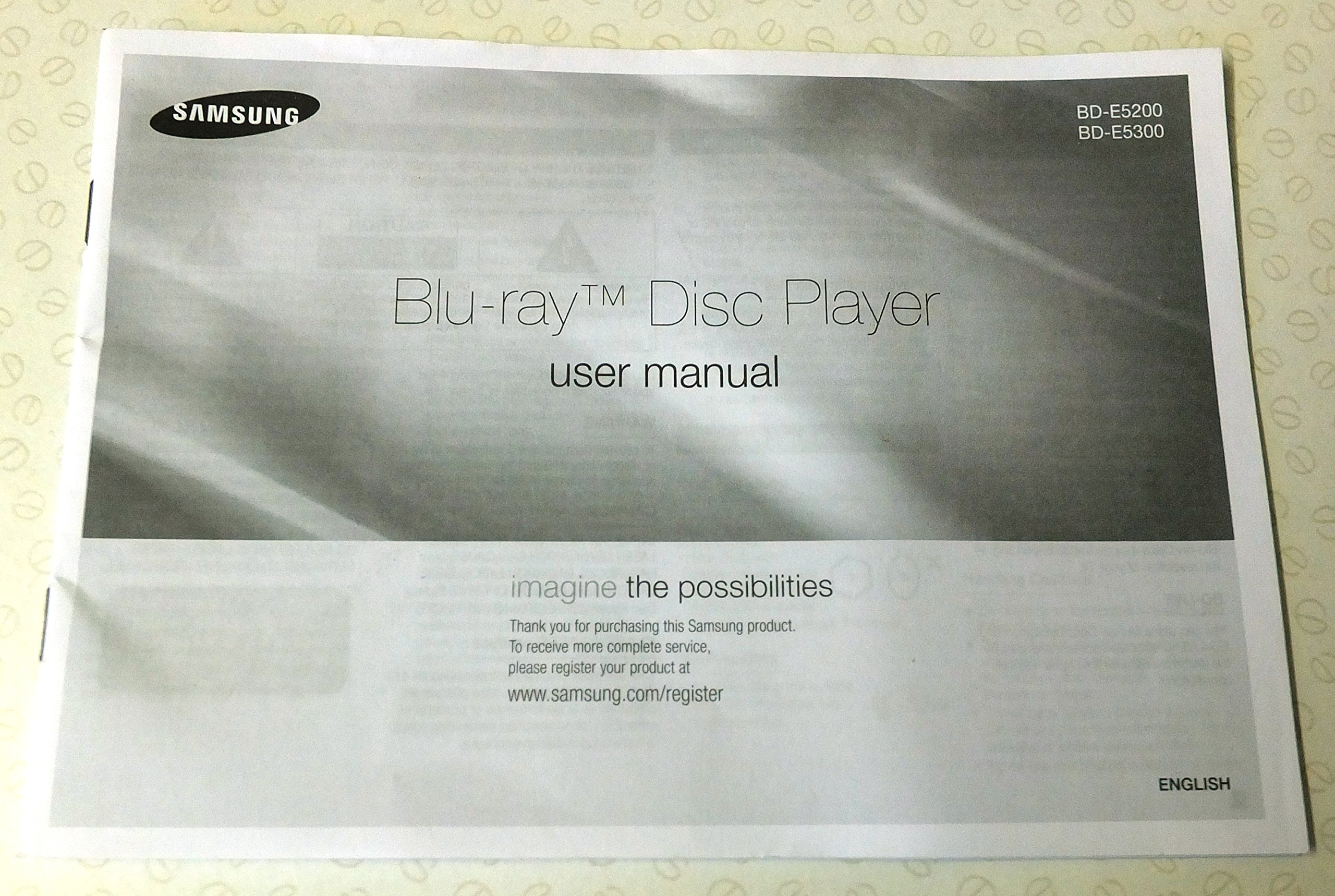 Samsung blu-ray disc player models bd-e5200 and bd-e5300. User.