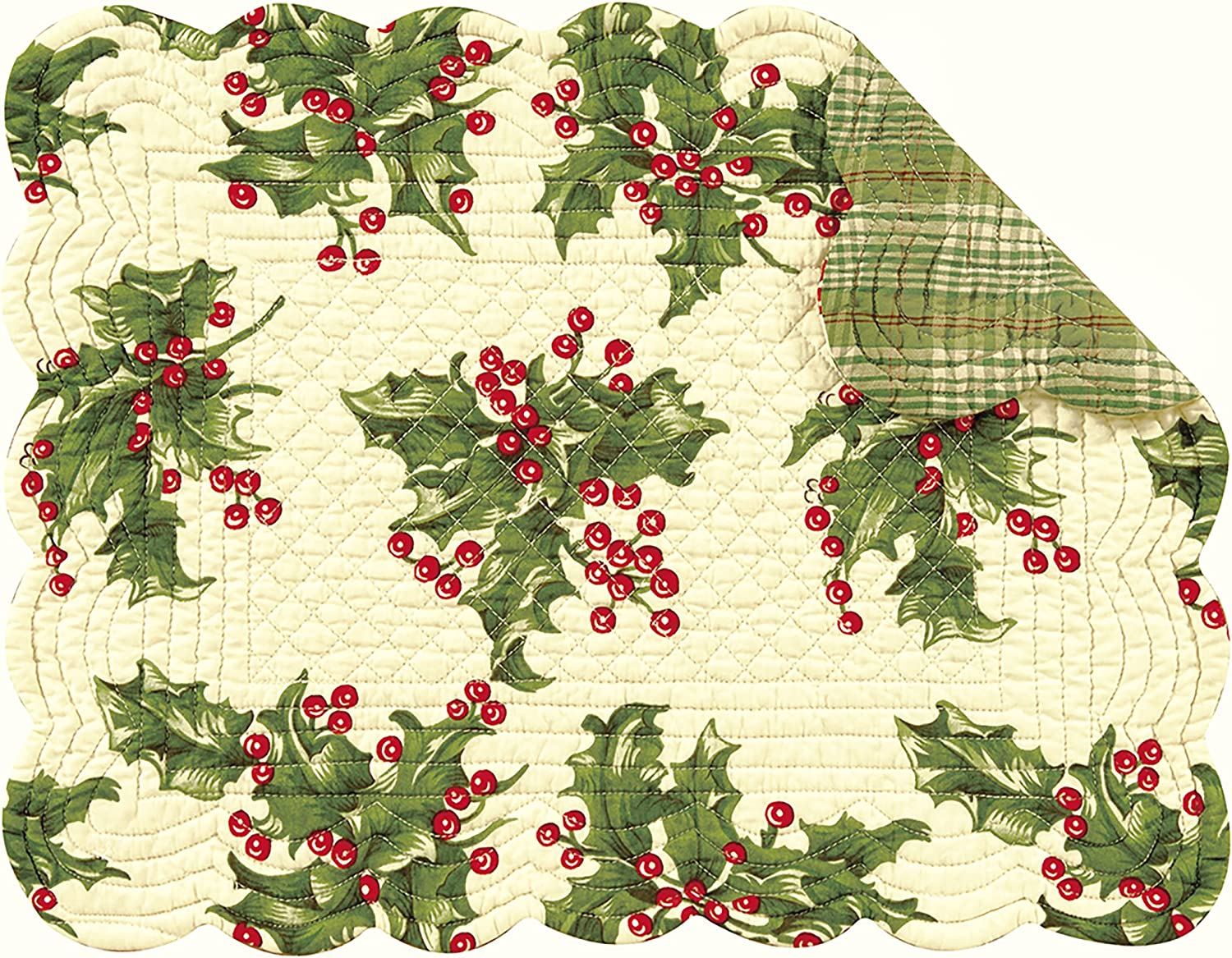 C&F Home Holly Cream Holiday Christmas Floral Botanical Reversible Rectangular Cotton Quilted Cotton Placemat Set of 4 Rectangular Placemat Cream