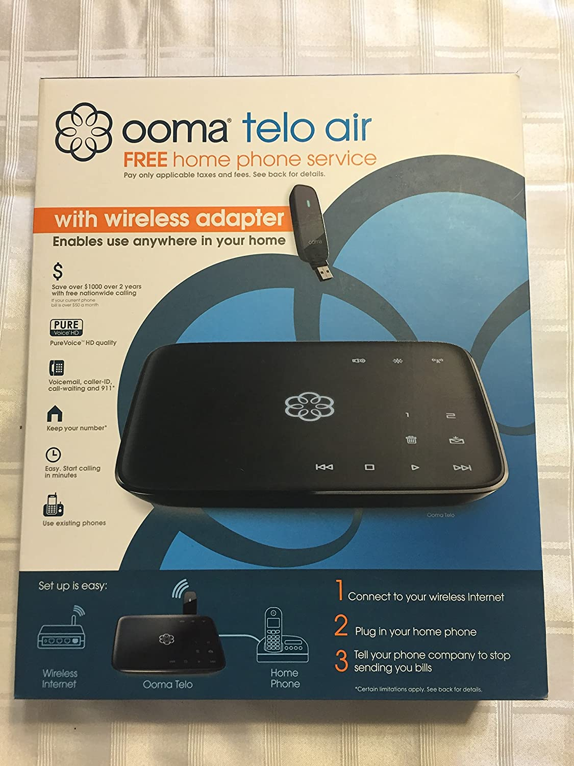 Amazon Com Ooma Telo Air Voip Free Home Phone Service With Wireless Adapter Plus 90 Days Ooma Premier Voip Telephone Adapters Electronics