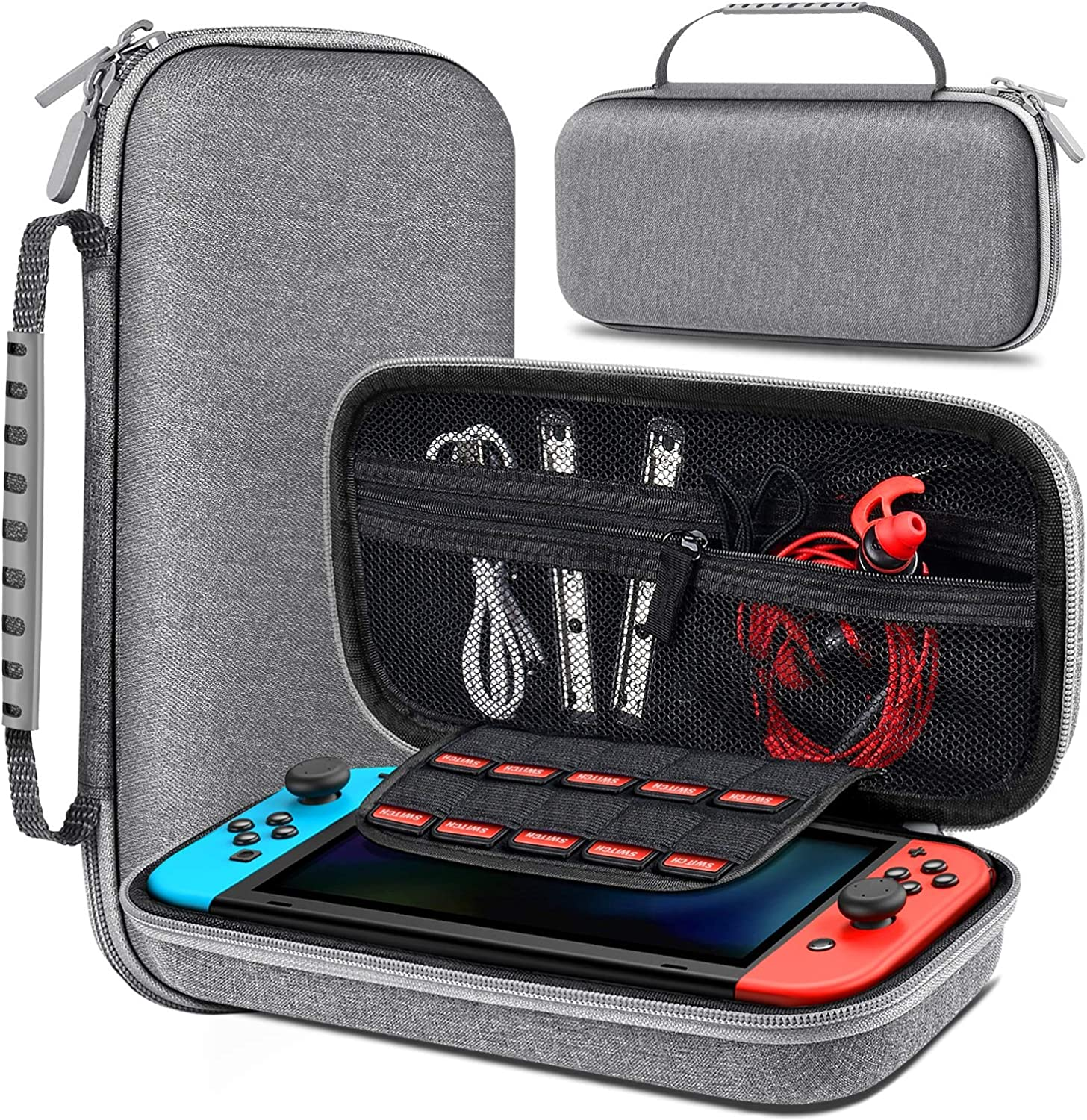 BEBONCOOL Carrying Case for Nintendo Switch, Switch Travel Case Work with Nintendo Switch Dock Case, Portable Switch Carry Case with Handle, Dual Zippers, Switch Bag for Game Storage Accessories-Gray