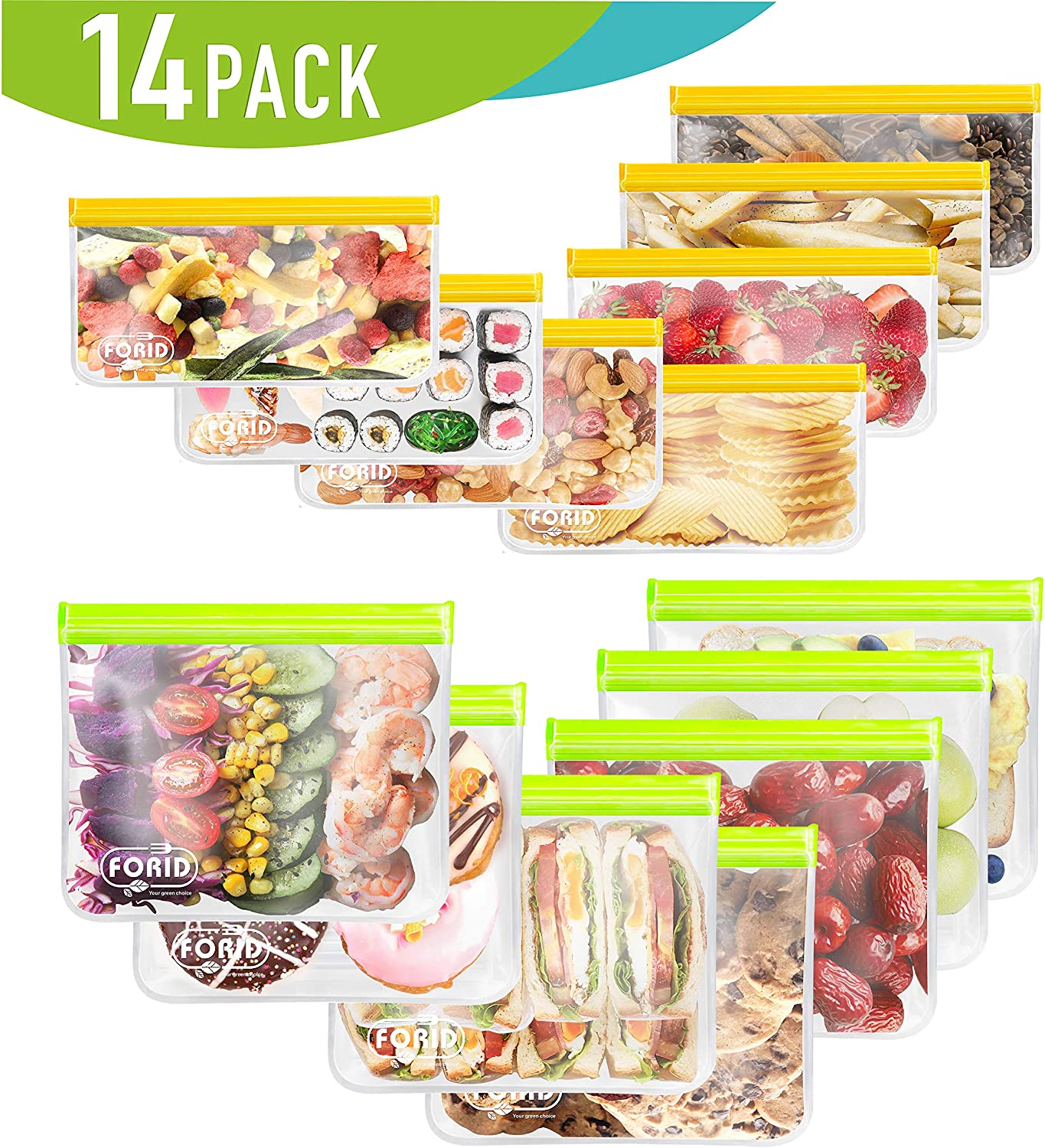 Reusable Storage Bags - 14 Pack EXTRA THICK Ziplock bags (7 Reusable Sandwich Bags & 7 Reusable Snack Bags) FDA Grade Food Freezer Bags LEAKPROOF Lunch Bag Silicone Plastic and BPA Free