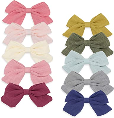 Handmade Bow Ribbon with Alligator Hair Clips Sides Accessories Kids Girls