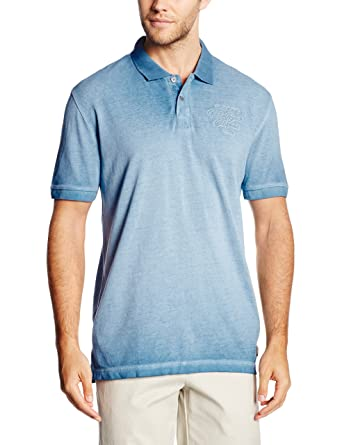 TOM TAILOR Herren Poloshirt Overdyed Polo with Chest Badge, Blau (Even Blue  6673)