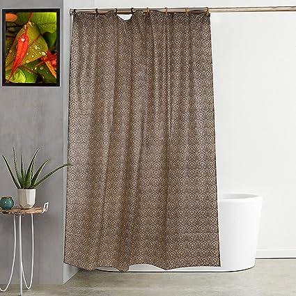 Kuber Industries Exclusive Leaf Design PVC Shower Curtain 7 Feet (Coffee)-CTKTC1561