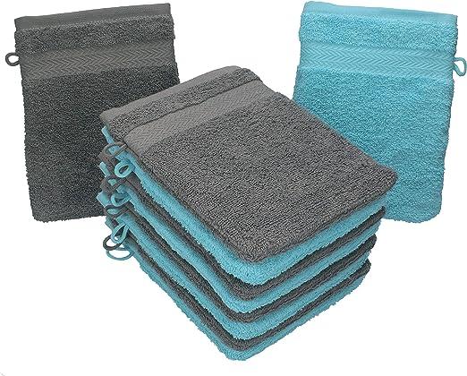 Betz Paquete de 10 Manoplas de baño Premium 100% algodón 16x21cm de Color Gris Antracita y Turquesa: Amazon.es: Hogar