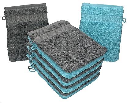 Lot de 10 gants de toilette Premium gris anthracite et bleu turquoise,  taille: 16x21 cm