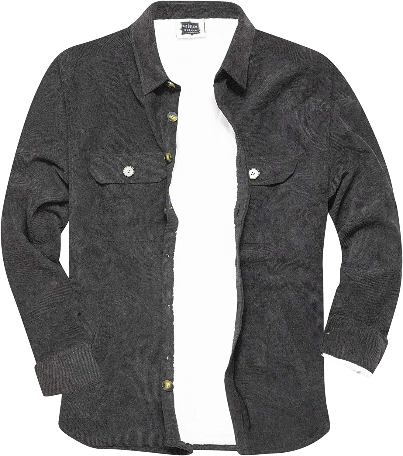 5XL Visive Mens Heavy Flannel Shirt Jacket for Mens Big and Tall Zip Up Fleece W//Hood Size M