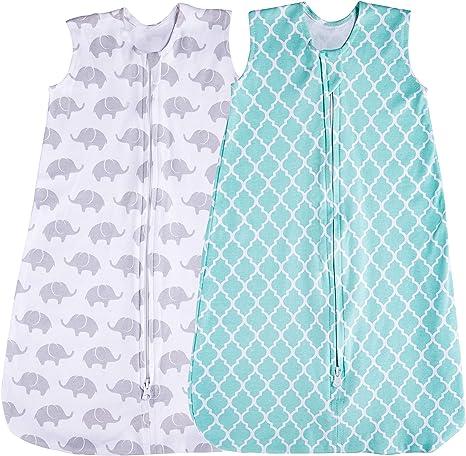 Saco de dormir para bebé, 2 unidades de manta, verano (menta/elefante) (3-6 meses): Amazon.es: Hogar
