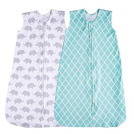 Jomolly Saco de Dormir para bebé, 2 Unidades, Color Verde Menta/Elefante Verde