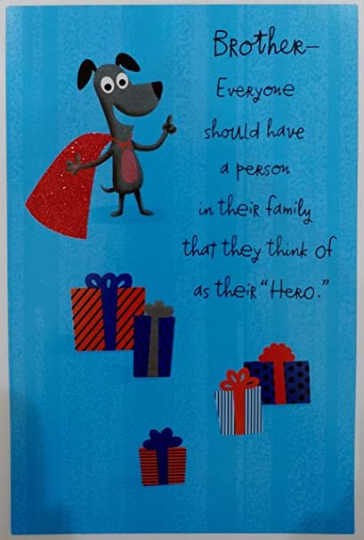 happy birthday brother from your hero funny humor cute greeting card