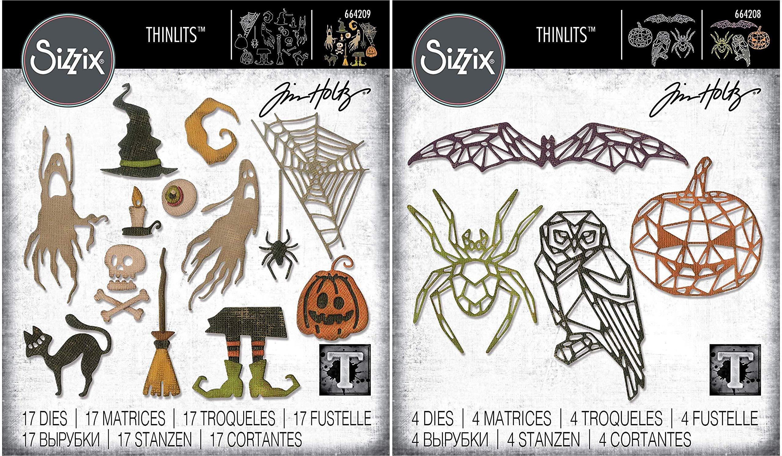 Tim Holtz Sizzix Halloween 2019 Thinlit Set - Frightful Things and Geo Halloween - 2 Items