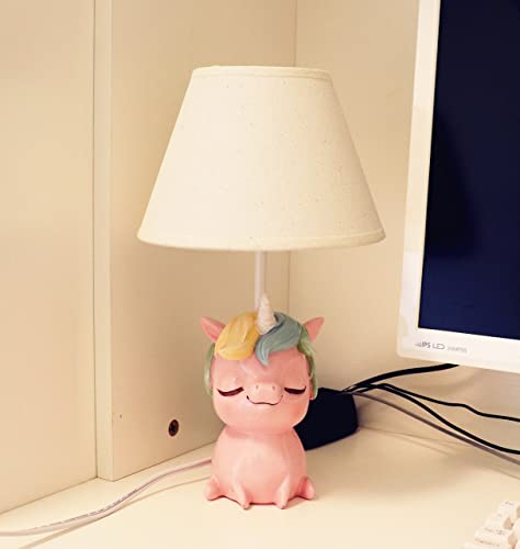 Amazlab 43237-2 Cute Table Bedroom, Bedside Kids Room Decoration, Gifts for Boys or Girls, Unicorn Stick Lamp with Pink Shade, UL Listed, 13.57.77.7 inch