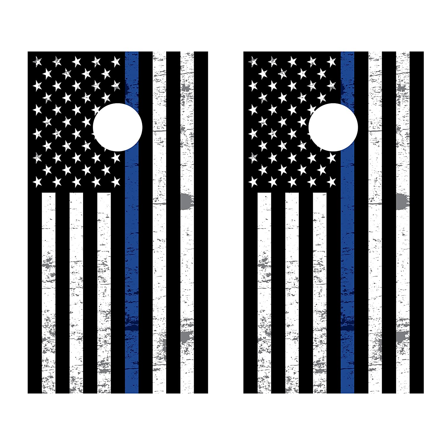 タワーDecals Thin Blue Line American Flag Cornholeボードビニールラップ B07FLGXH2R ラミネート