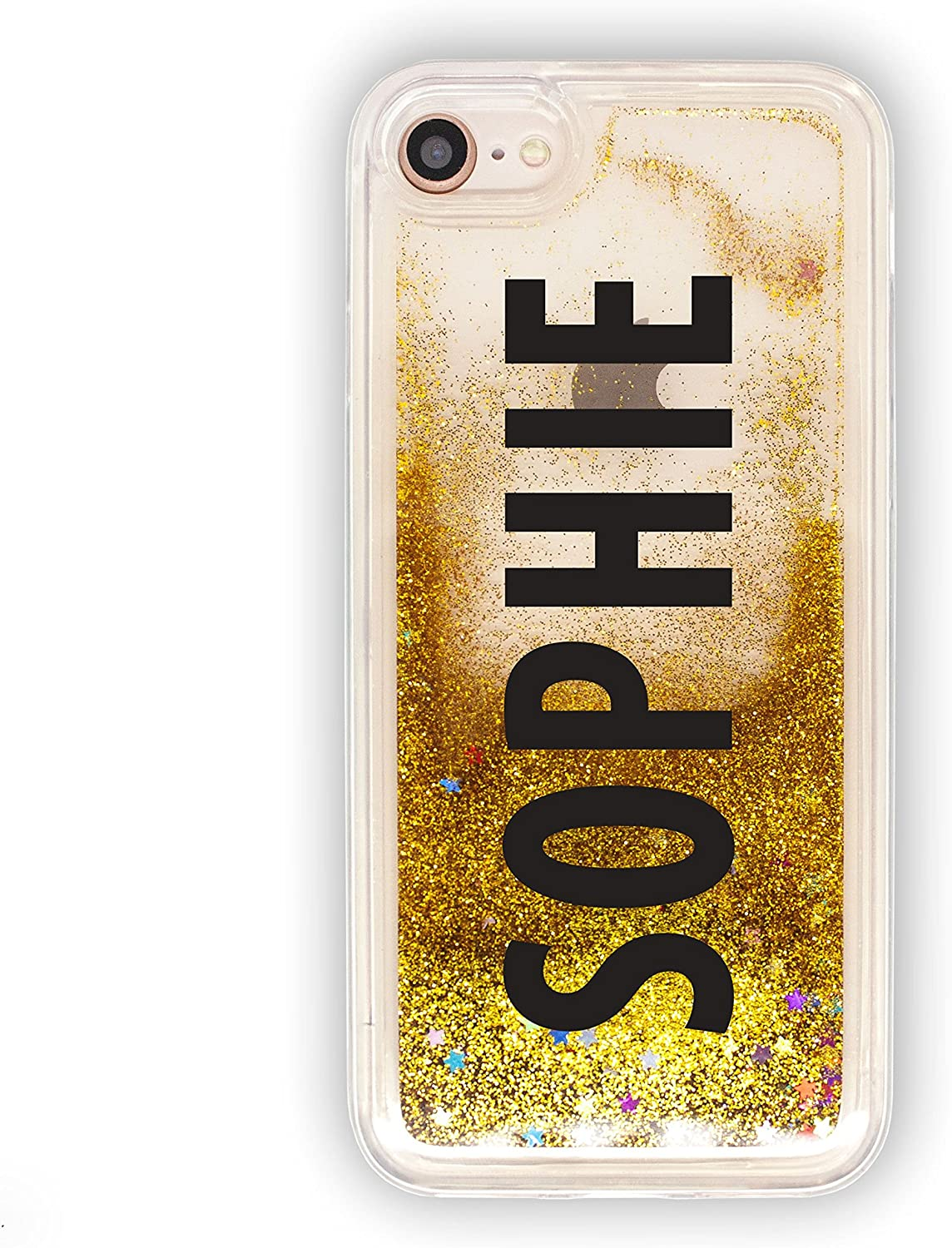 Amazon.com: SmartGiftShop Personalised Custom Liquid Glitter Clear Phone  Cover/Case VERT Text for iPhone iPhone 6 / 6s / Gold Glitter Black Ink:  Electronics