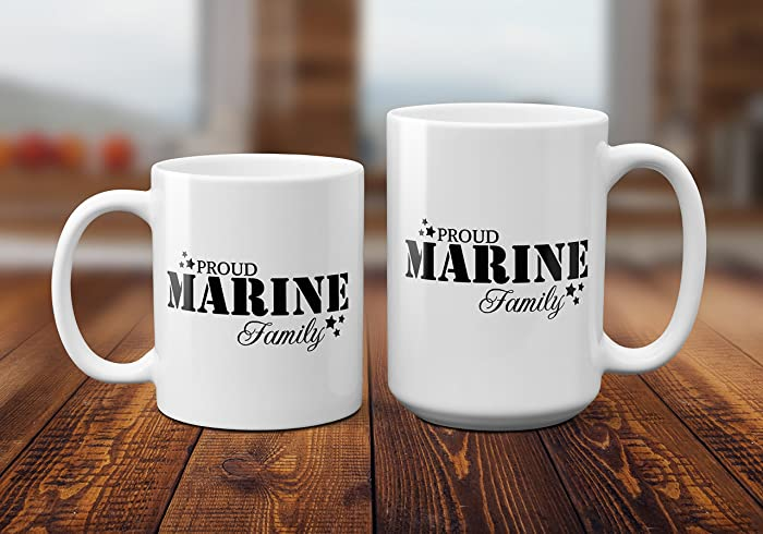 Proud Marine Family Coffee Tea MugBirthday Gift For MenWomenMomDad