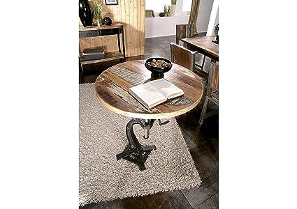 mobili in legno massello stile industriale TAVOLO TONDO LEGNO ANTICO ...