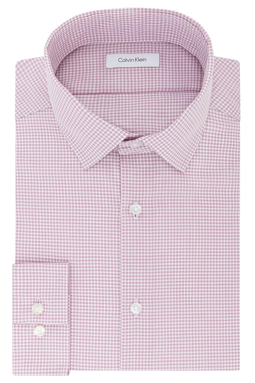 Calvin Klein Mens Dress Shirts Non Iron Slim Fit Gingham Spread Collar Calvin Klein Dress Shirts 33K2493
