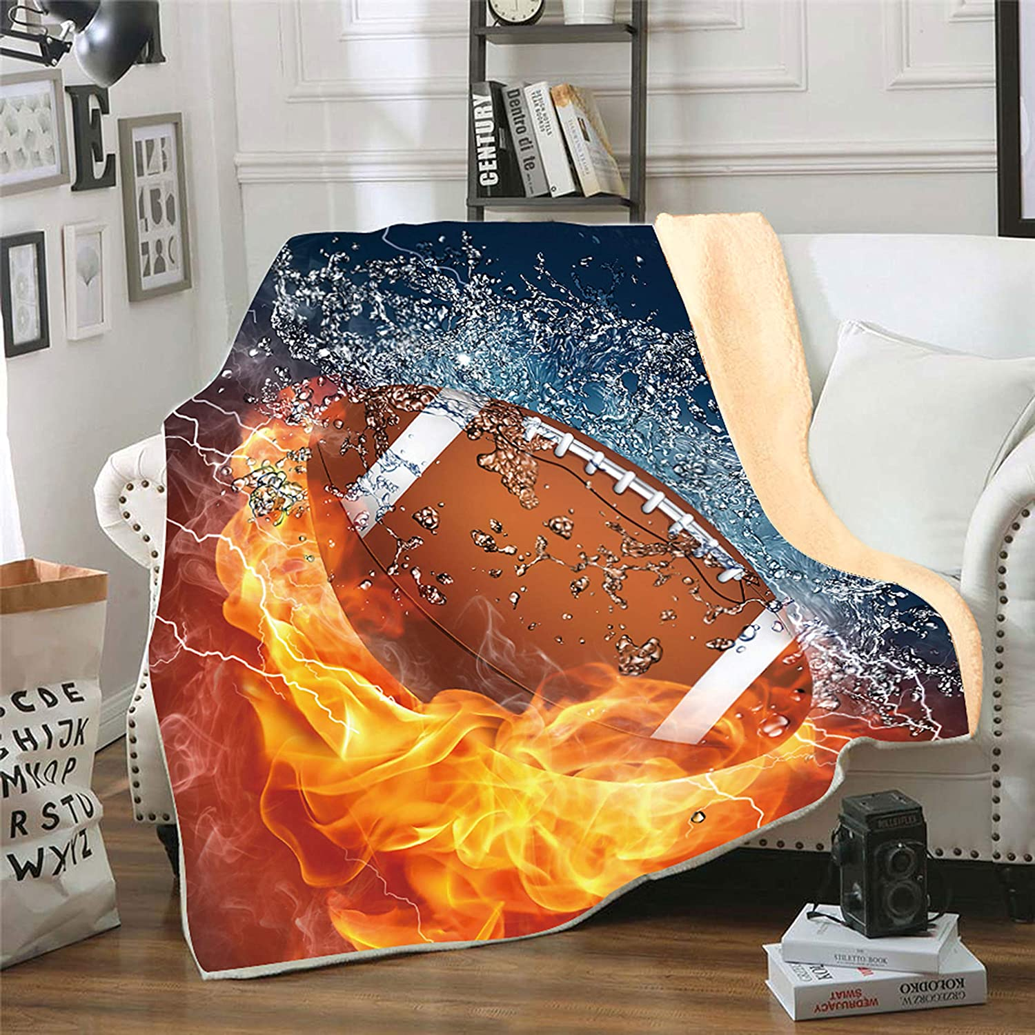 Softball Red Flame Flannel Fleece Throw Blanket,SKOLOO 3D Printed Warm Fluffy Cozy Soft TV Bed Couch Sport Fans Boys Teens Gift Blanket Comfy Microfiber Velvet Plush Throw,Kids 60 x 80