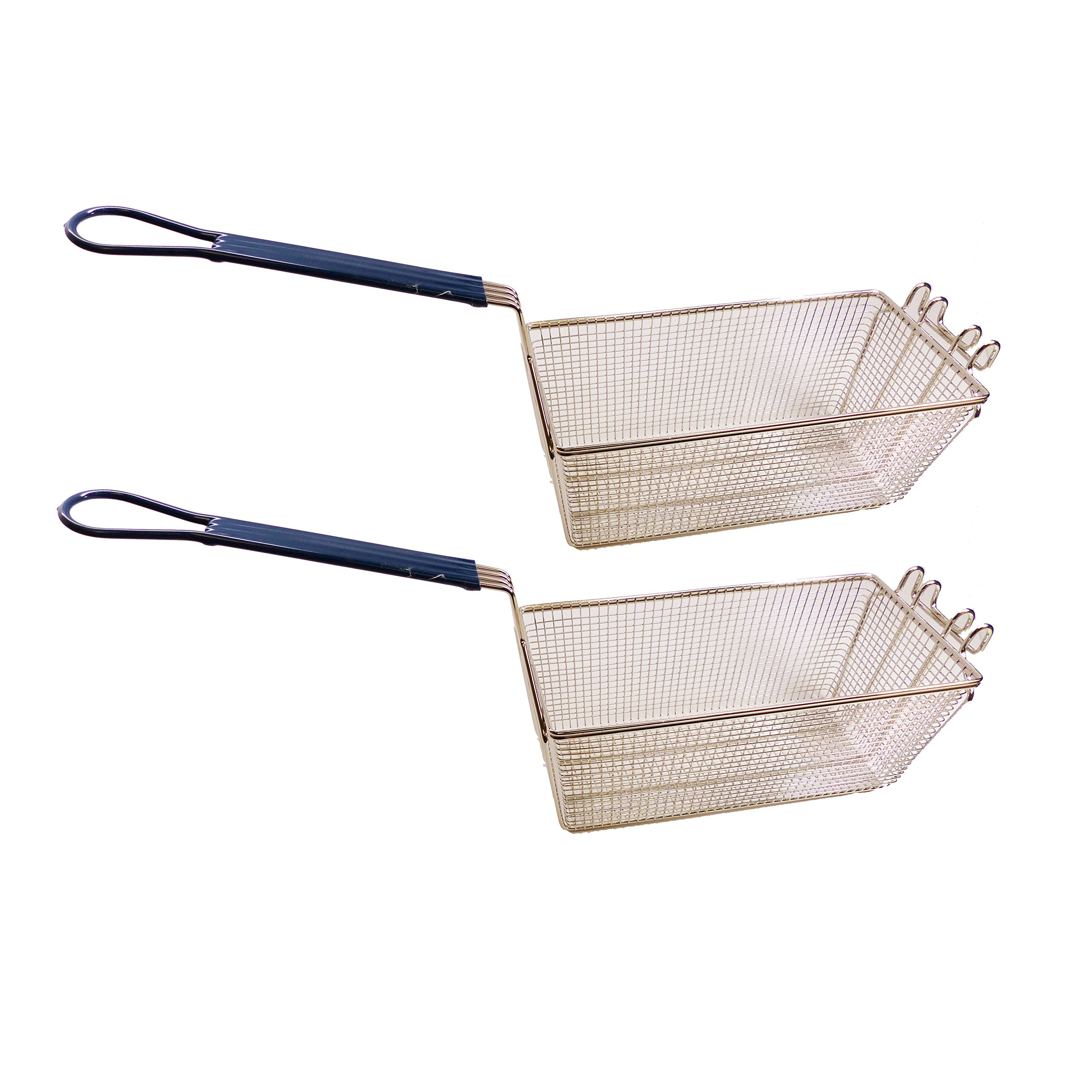 2-Pack Rustproof Heavy Duty Deep Fryer Wire Basket Commercial Grade Replacements with Blue Handles