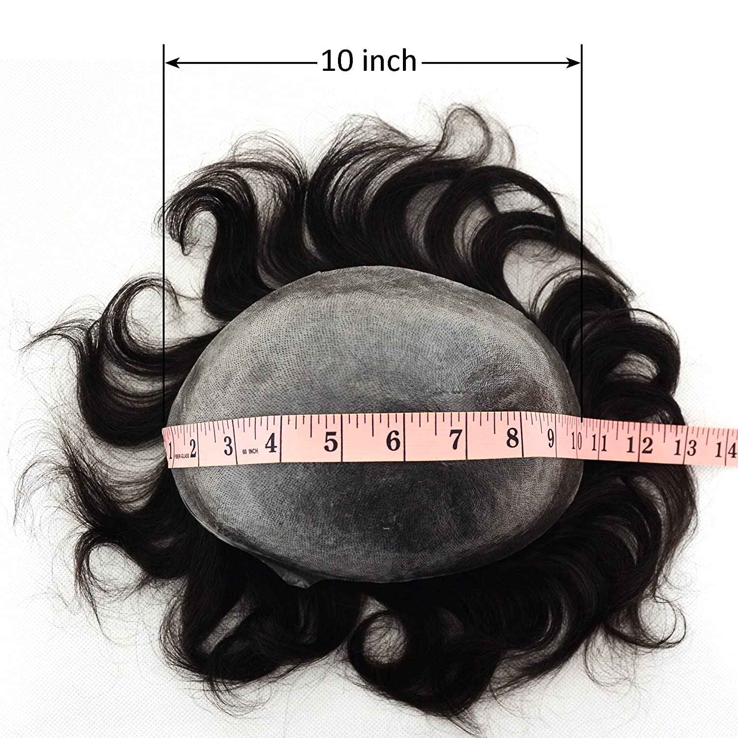 Amazon.com : Thin Skin Mens Toupee Real Human Hair Pieces V-looped, European Virgin Human Hair Replacement System For Men Natural Wave Hair Off Black ...