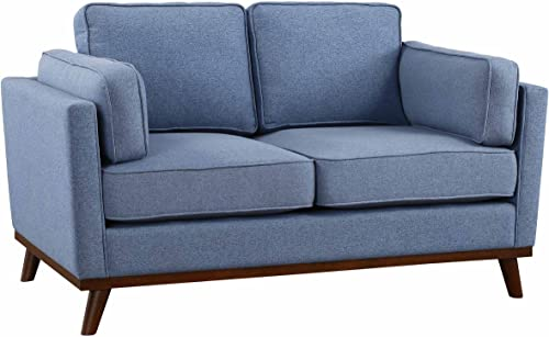 Homelegance Bedos 62 Upholstered, Blue Fabric Loveseat,