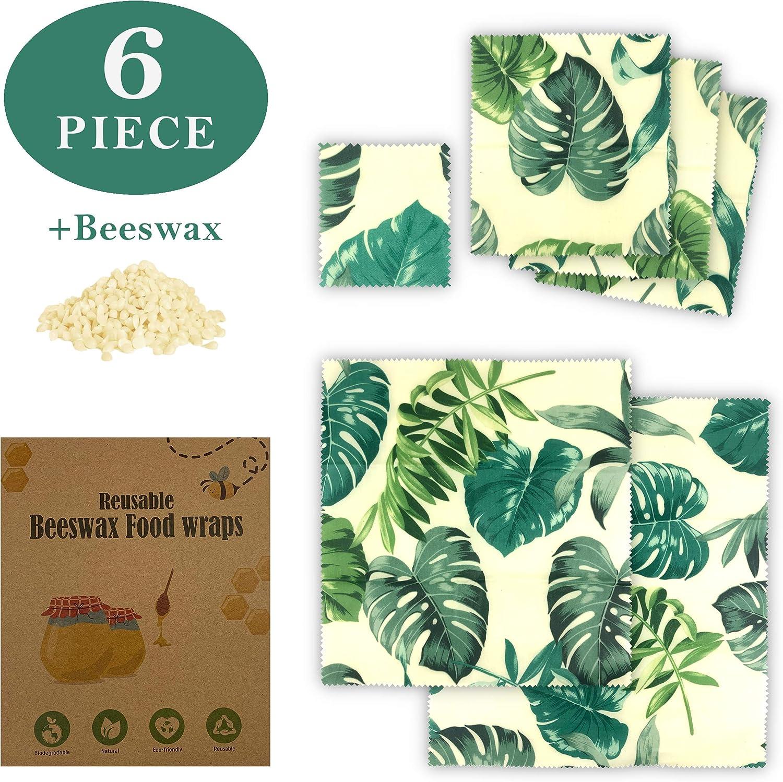 Paquete de 6 envolturas de cera de abejas de alta calidad incluye bloque de cera de abejas para hacer tus propios envoltorios ecol/ógicos en casa.