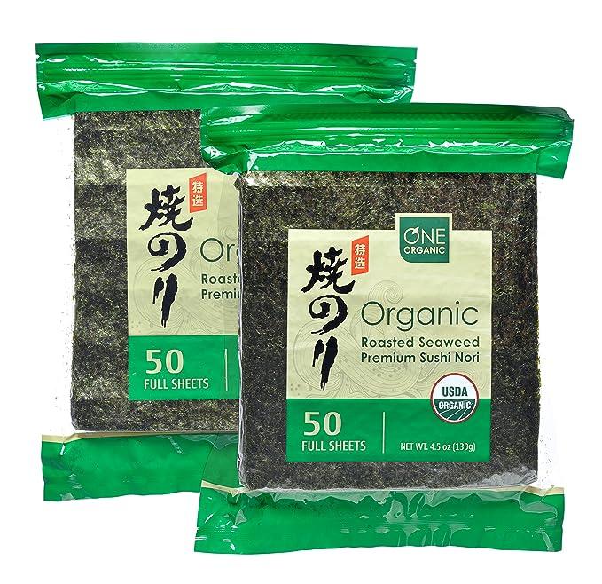 Amazon.com : ONE ORGANIC Sushi Nori Premium Roasted Organic Seaweed (50 Full Sheets) - 2 Packs : Grocery & Gourmet Food