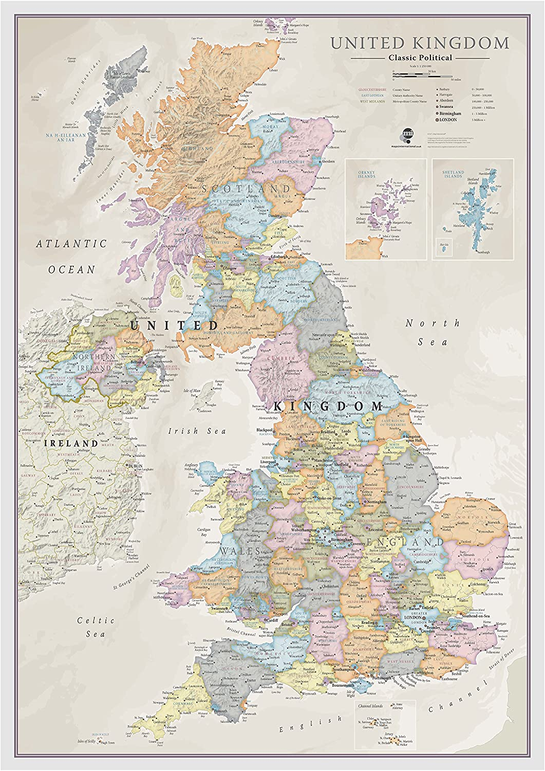 UK MAP DETAILED TOWNS CITIES WALL ART LARGE A1 POSTER 33 X 23 INCH