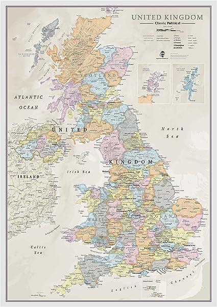 Mapa clásico del Reino Unido - laminación de la hoja frontal - 59 ...