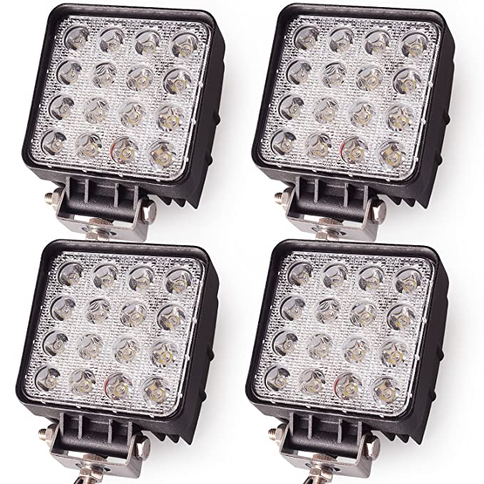 amazon com: oplips 4pack 48w 4 inch square led work light lamp off road  high power atv jeep wrangler 4x4 rv trailer boat tractor truck excavator  fork lift