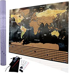 Large Deluxe Scratch off World Map Poster- World travel tracker, Wall poster, Countries Map, scratch off map of usa, great gifts for travelers Includes accessories pins.