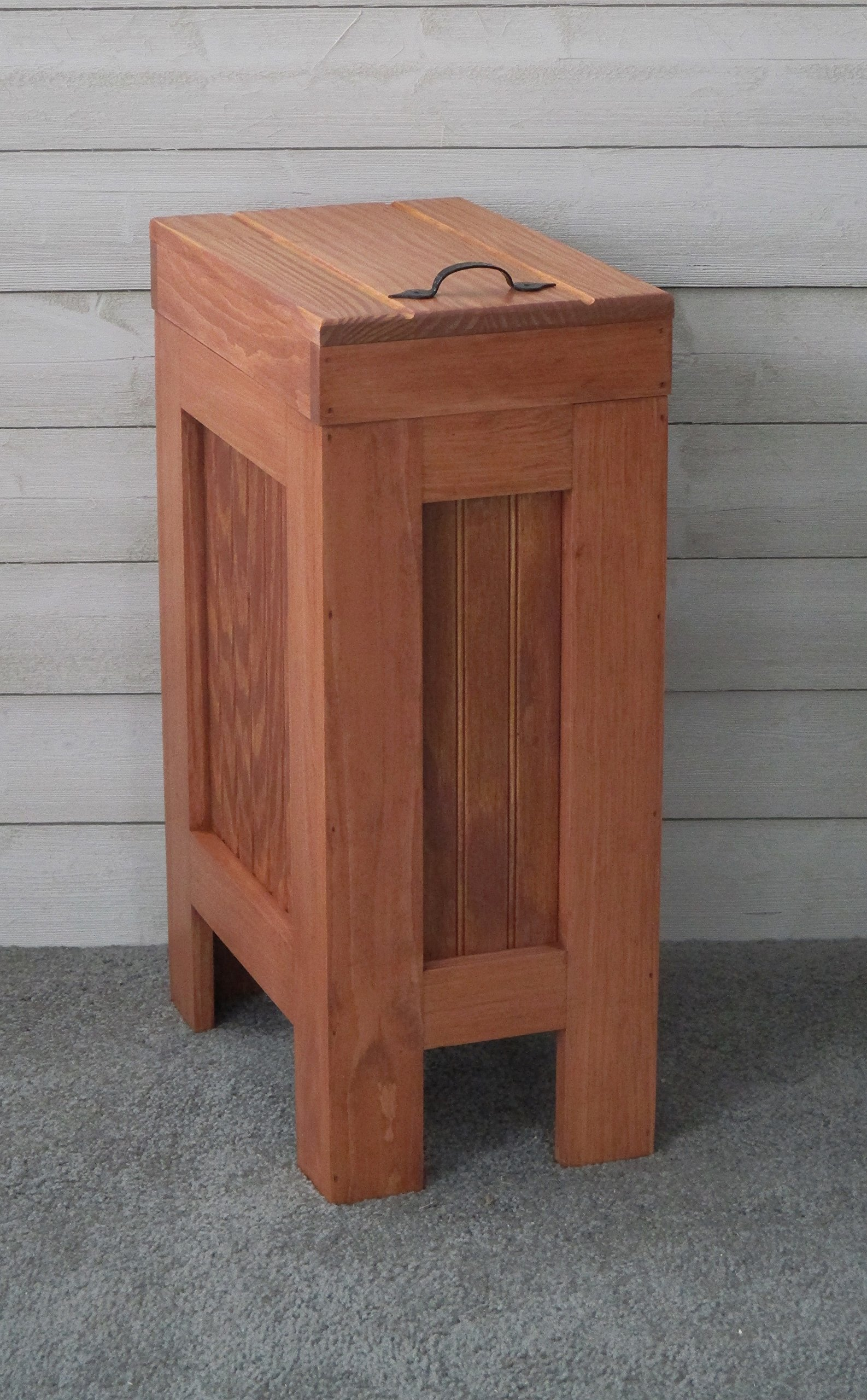 Rustic Wood Trash Bin, Kitchen Trash Can, Wood Trash Can, Dog food storage, 13 Gallon, Recycle Bin, Vermont Maple Stain with Metal Handle - Handmade in USA By BuffaloWoodshop
