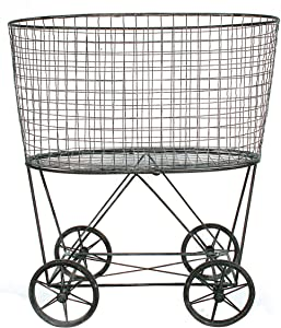 Creative Co-op Vintage Metal Laundry Basket with Wheels, Silver