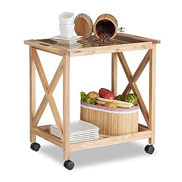 Amazon De Relaxdays Kuchenwagen Holz Auf Rollen 2 Etagen