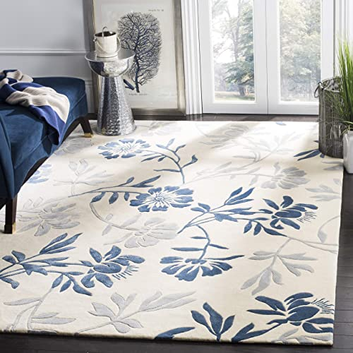 Safavieh Capri Collection CPR345A Handmade Ivory and Blue Premium Wool Area Rug 6' x 9'