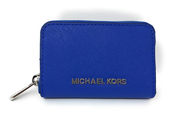 2e7c75b35 Michael Kors Jet Set Travel Credit Card Coin Case Leather Zip Around Wallet  in Electric Blue at Amazon Women's Clothing store: