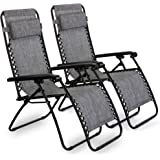 VonHaus Twin Pack Textoline Zero Gravity Chair - Set of 2 Folding & Reclining Sun Loungers with Steel Frame for Patio, Conservatory, Garden