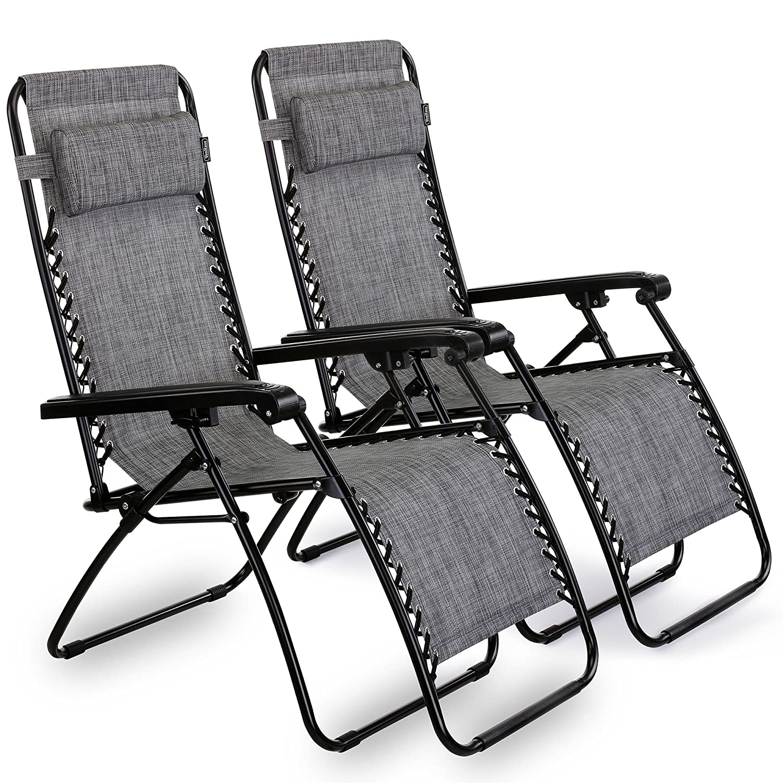 VonHaus Textoline Twin Pack Zero Gravity Chairs Set of 2 Folding