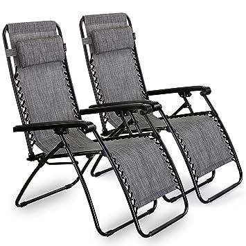 VonHaus Textoline Twin Pack Zero Gravity Chairs   Set Of 2 Folding U0026  Reclining Sun Loungers
