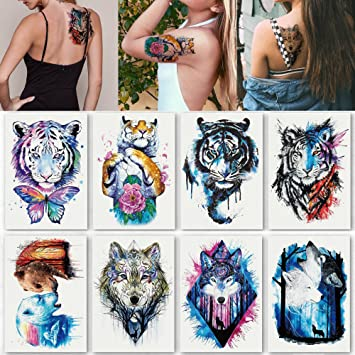 6bf4b6bcd Kotbs 8 Sheets Temporary Tattoo for Man Guys Women Waterproof Large Fake  Tattoo Temporary Tattoos Body Sticker Arm Shoulder Chest Back Makeup Tiger  Wolf ...