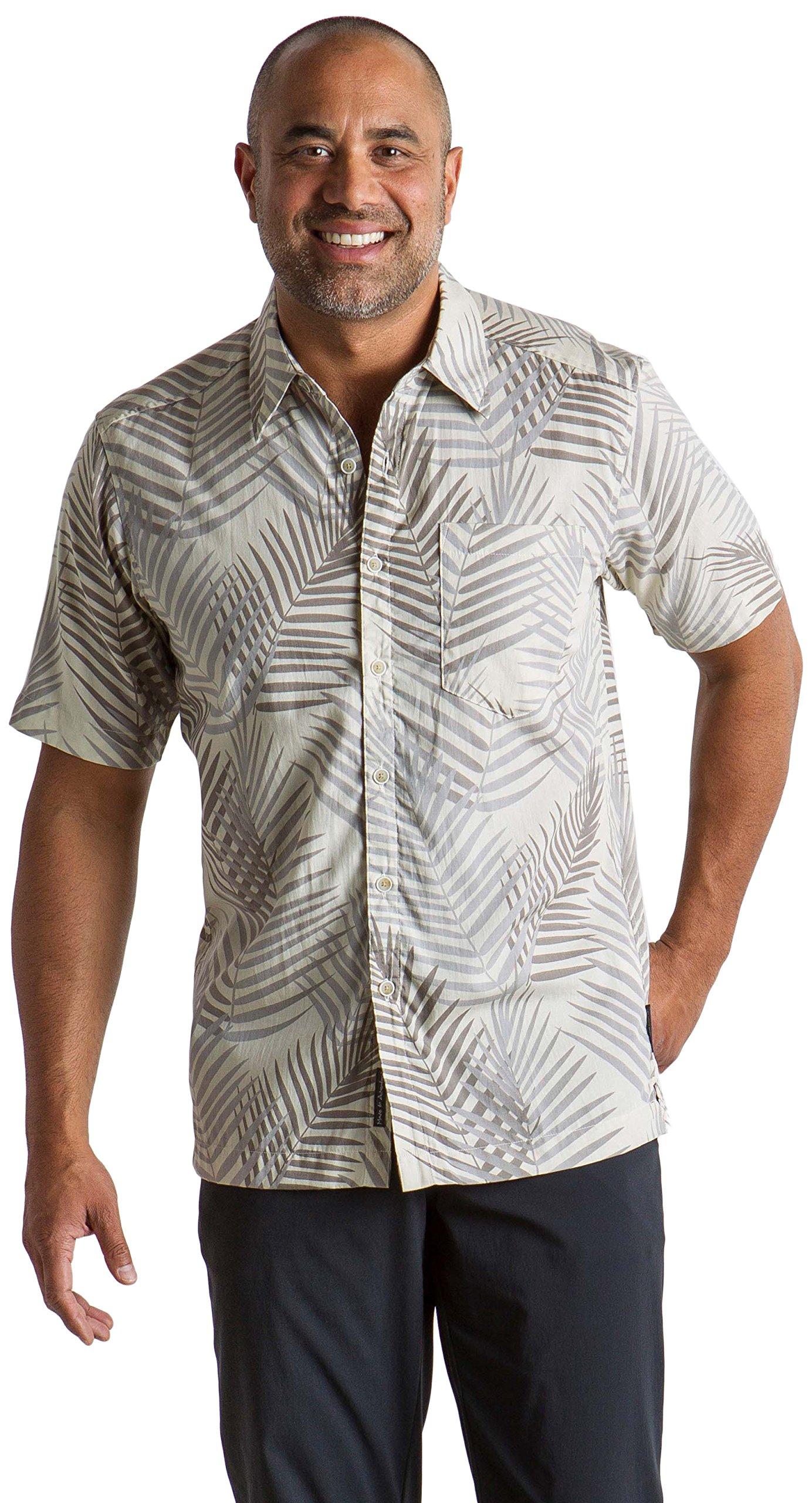 ExOfficio Men's Next-to-Nothing Pindo Print Lightweight Short-Sleeve Shirt, Light Stone, Large