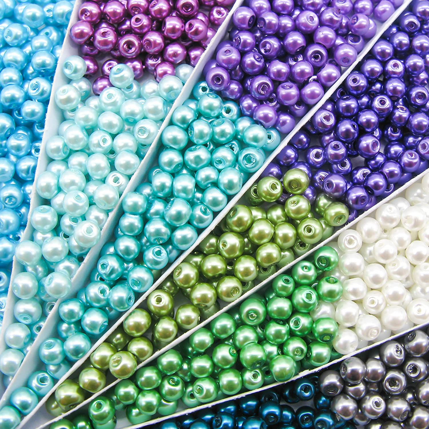 TOAOB 500pcs 6mm Tiny Satin Luster Round Glass Pearl Beads Assorted Colors Loose Beads Wholesale for Jewelry Making CLB0057