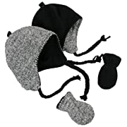 N'Ice Caps Little Kids and Infants Reversible Hat and Mittens Fleece Skater Set (6-18 Months, Black Solid/Black-White Sherpa Infant)