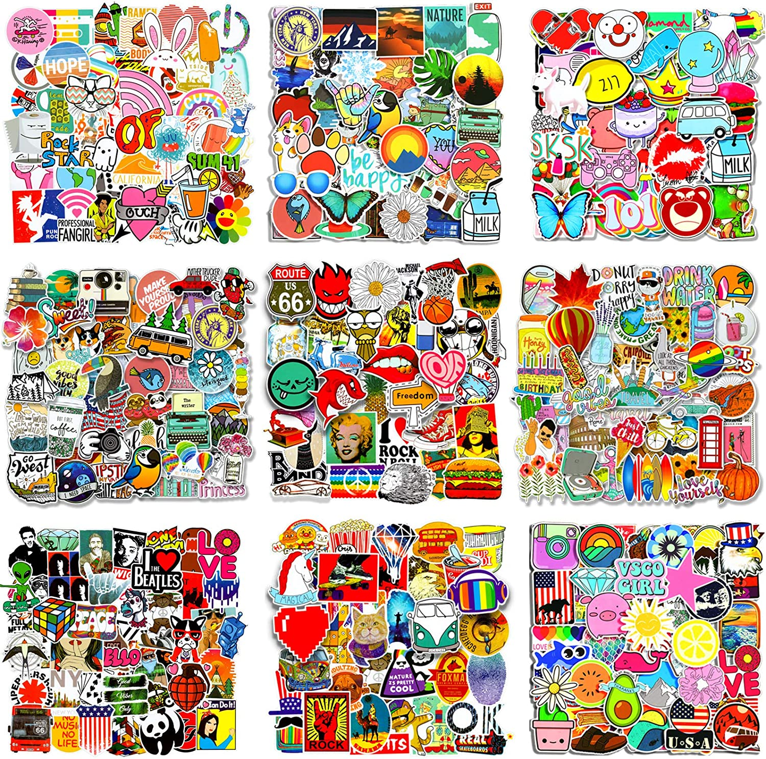 500Pcs Random Stickers Cool Graffiti Decals Sticker Pack,Durable Vinyl Stickers for Flask, Laptop,Water Bottles,Skateboard,Luggage,Bicycle