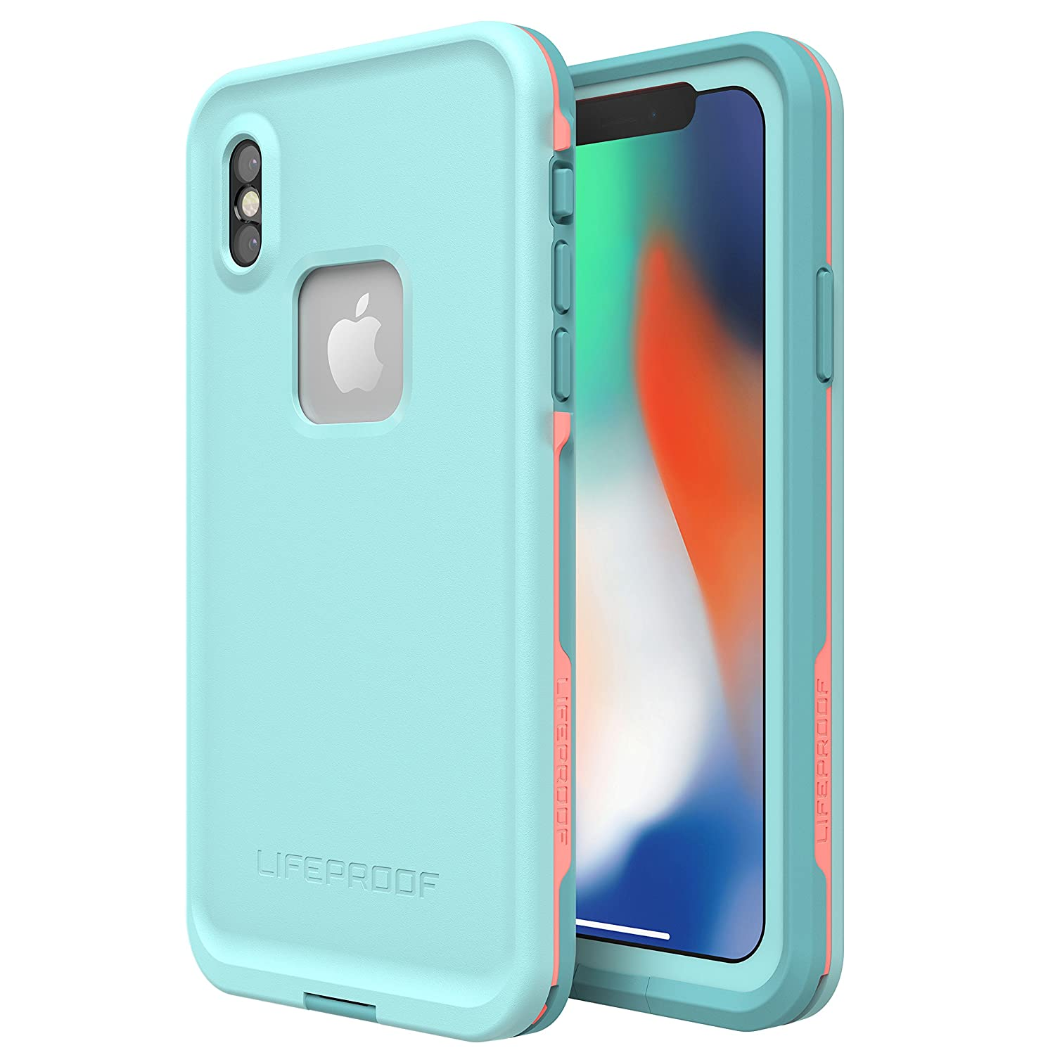 Lifeproof FRĒ Series Waterproof Case for iPhone X (ONLY) - Retail Packaging - Wipeout (Blue Tint/Fusion Coral/Mandalay Bay)