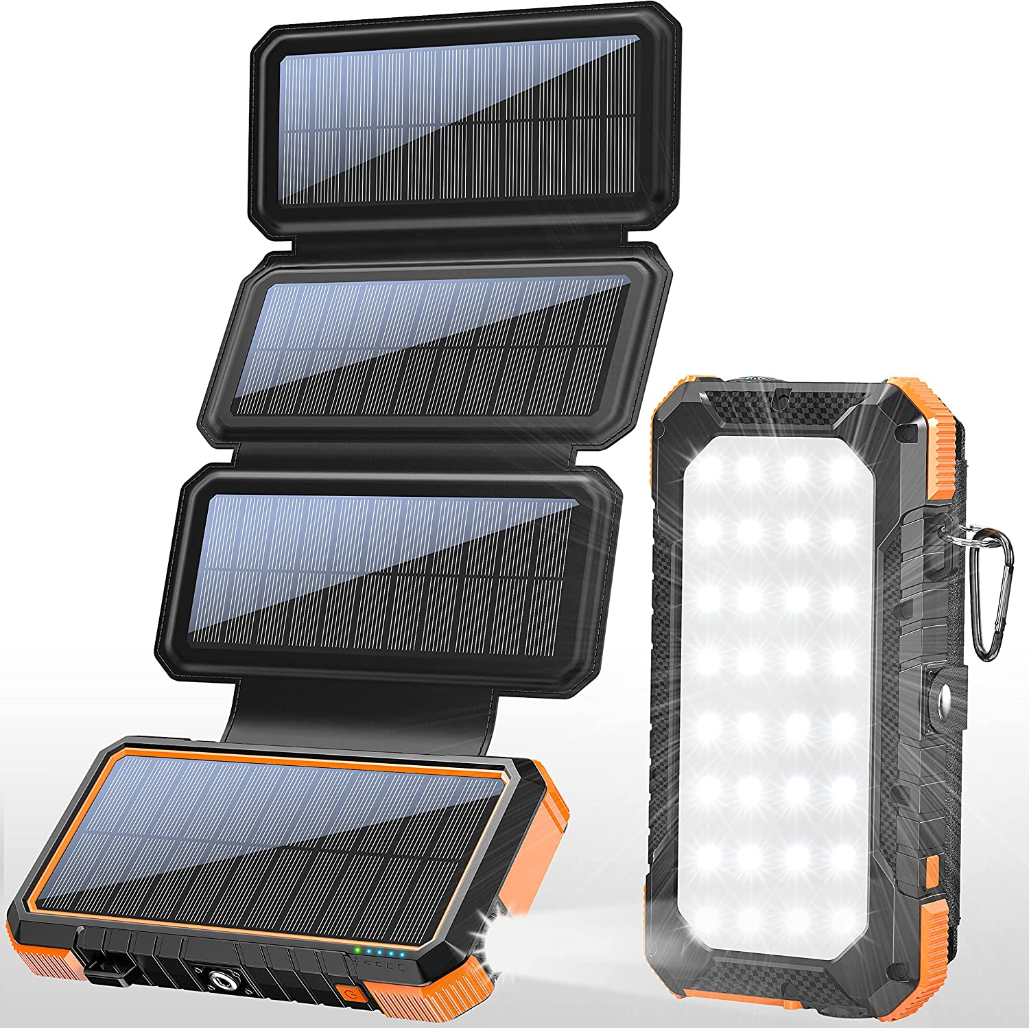 PD 18W Solar Panel Charger QC 3.0 Fast Charging Power Bank,Solar Phone Orange