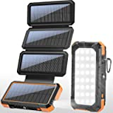 BLAVOR Solar Charger with Foldable Panels, Outdoor Power Bank 18W Fast Charging, 20,000mAh Solar Powered Charger with…